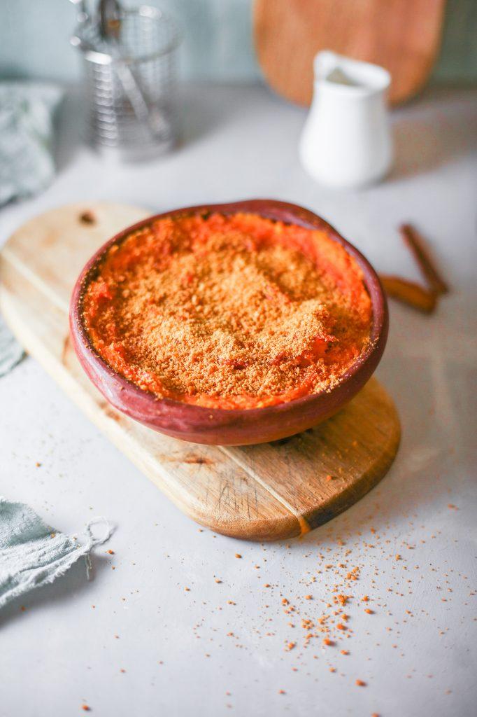 side of healthy sweet potato casserole on cutting board