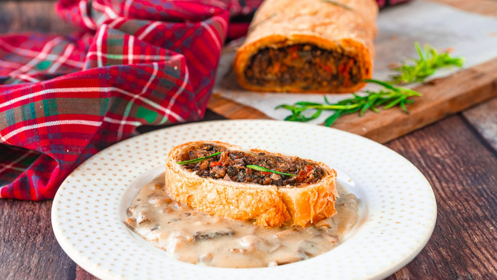 vegan wellington with gravy for christmas dinner