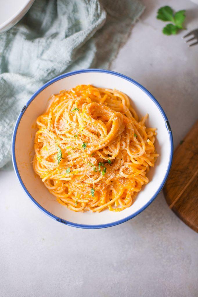 Pumpkin Pasta an easy vegan recipes for dinner