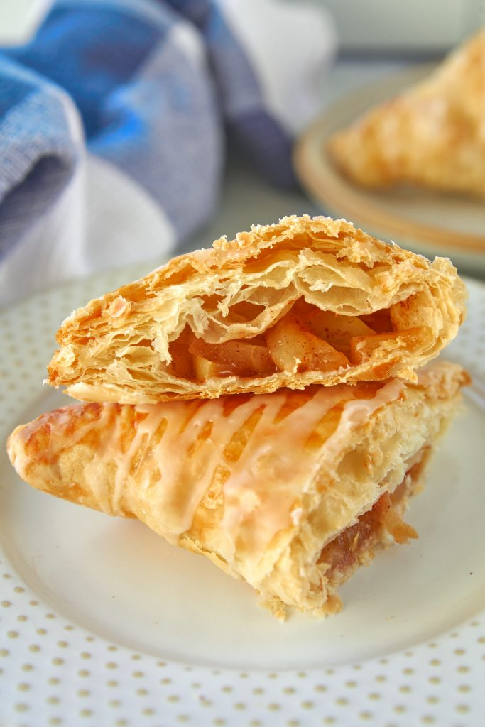 close up of the inside of a vegan apple turnover cut in half