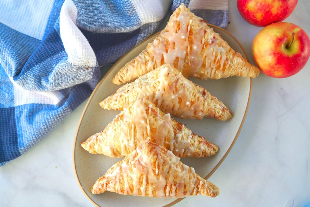 four vegan apple turnovers from above