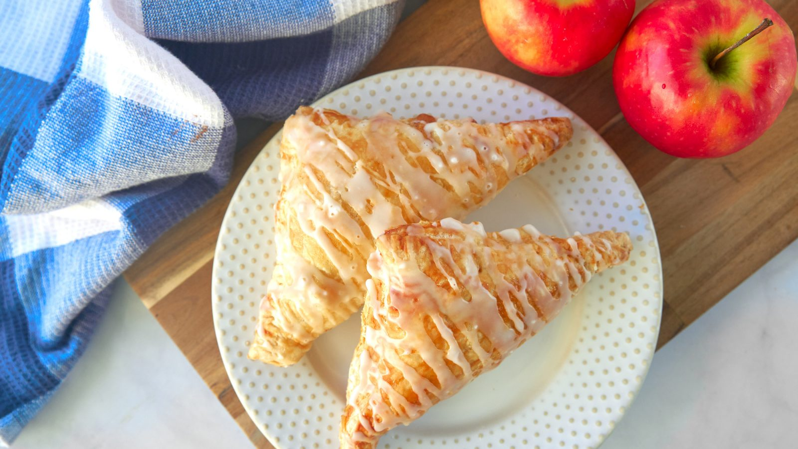 vegan apple turnovers on a serving plate