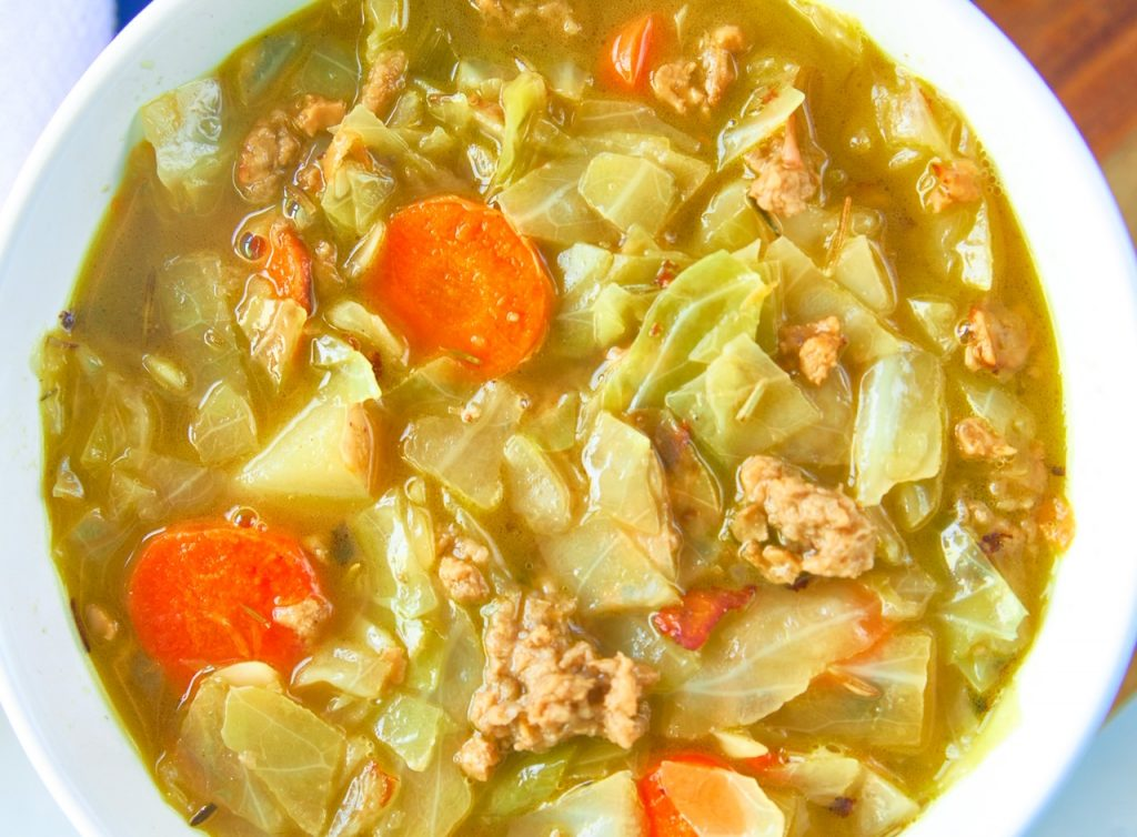 close up photo of the vegan beef in the vegetarian cabbage soup