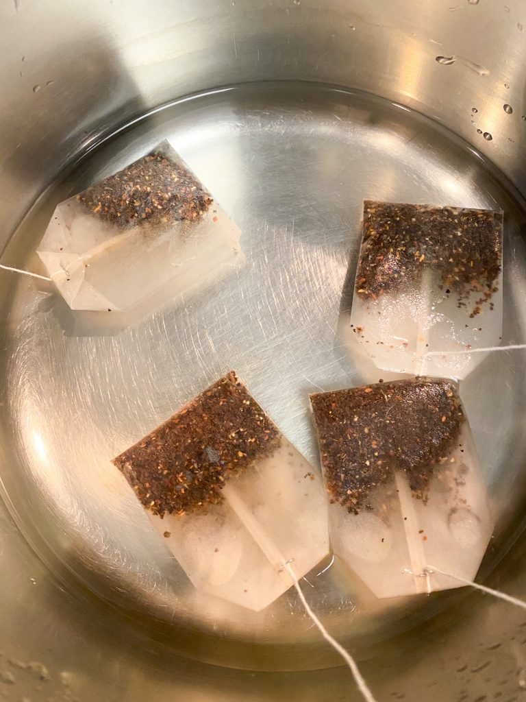 chai teabags steaping in water