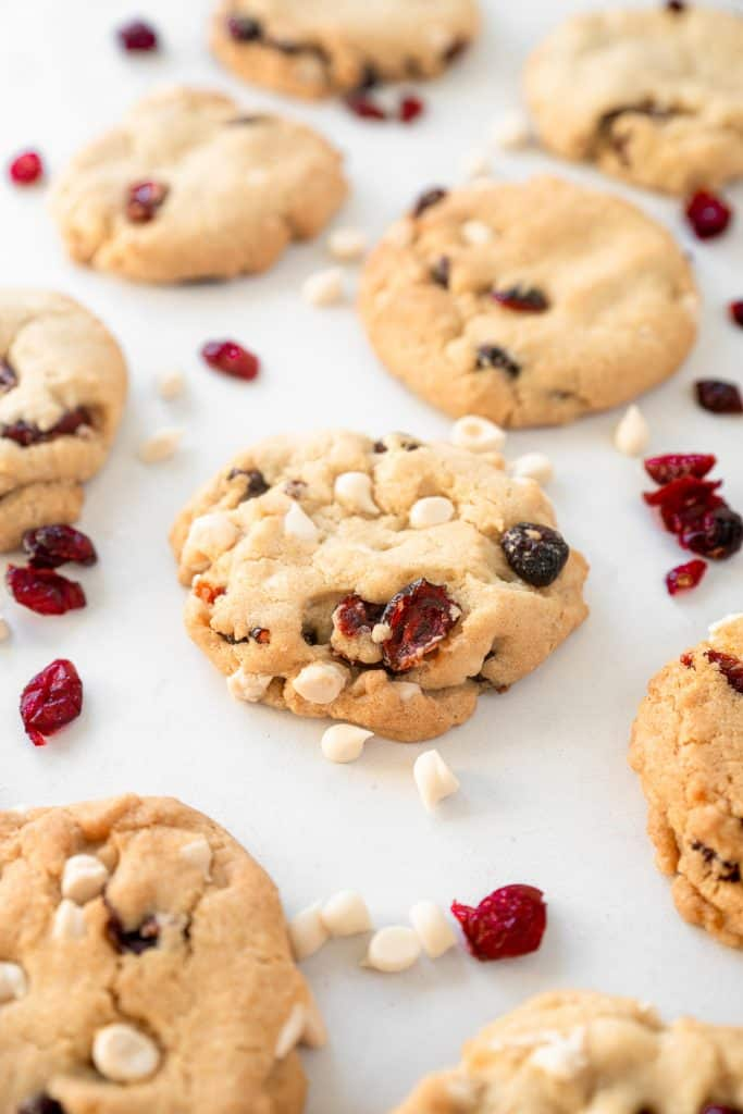 vegan cranberry cookies with white chocolate on baking dish