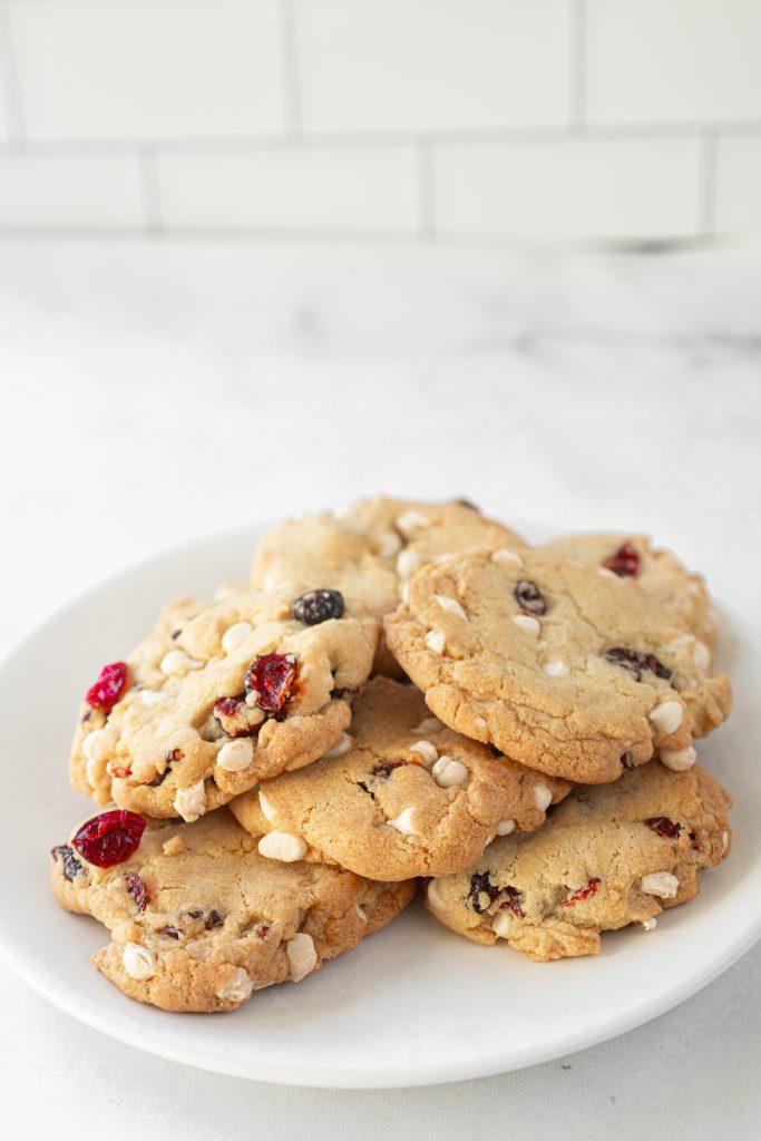 vegan cranberry cookies on dish