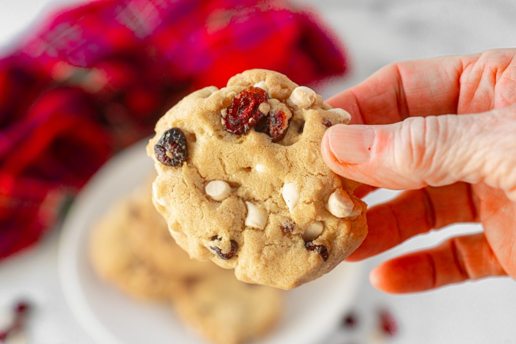 close up photo of a hand holding vegan cranberry cookies with white chocolate