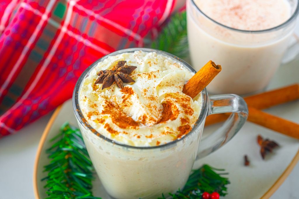 close up of a star anise on vegan eggnog