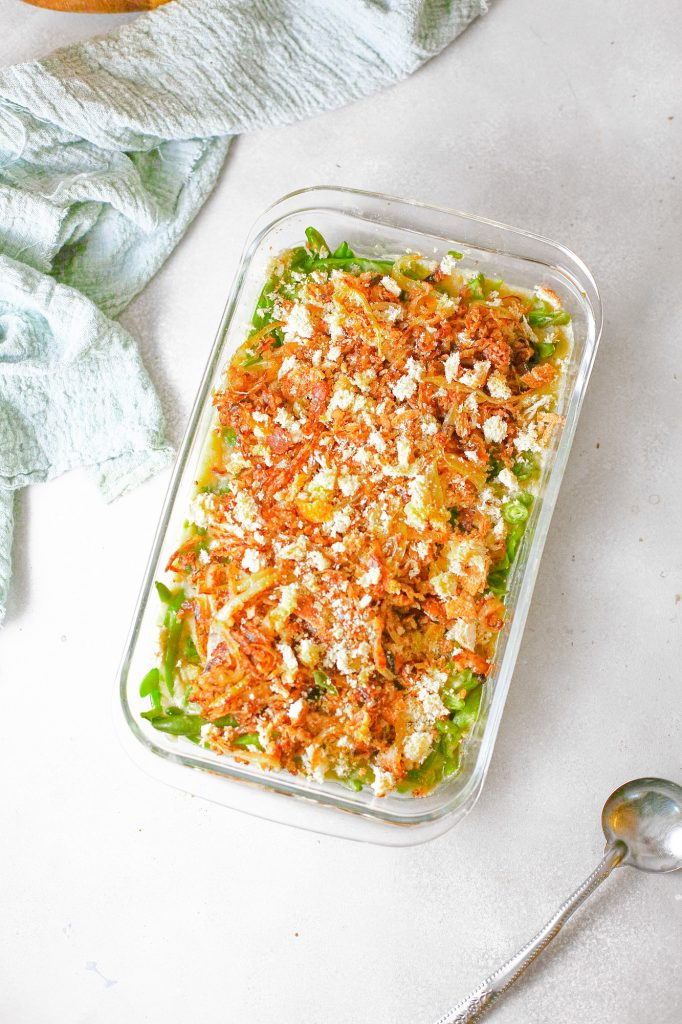 above photo of healthy green bean casserole without dairy