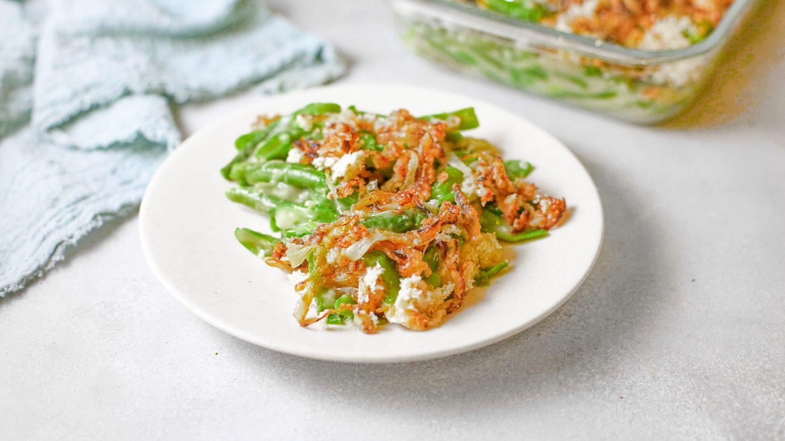 vegan green bean casserole on plate