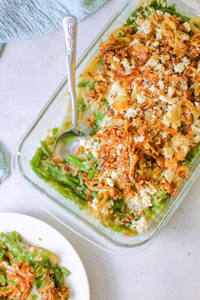 Photo of vegan green bean casserole.