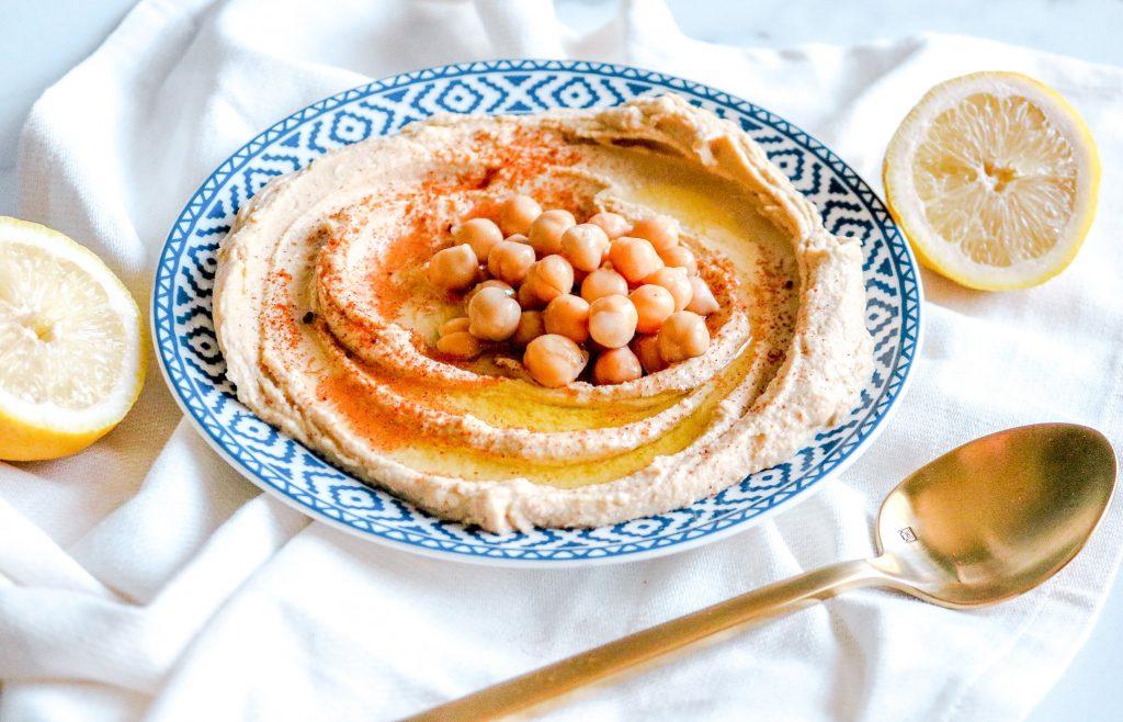 close up photo of vegan hummus recipe with chickpeas