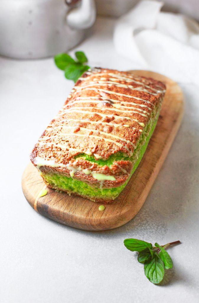 whole vegan matcha pound cake with matcha drizzle