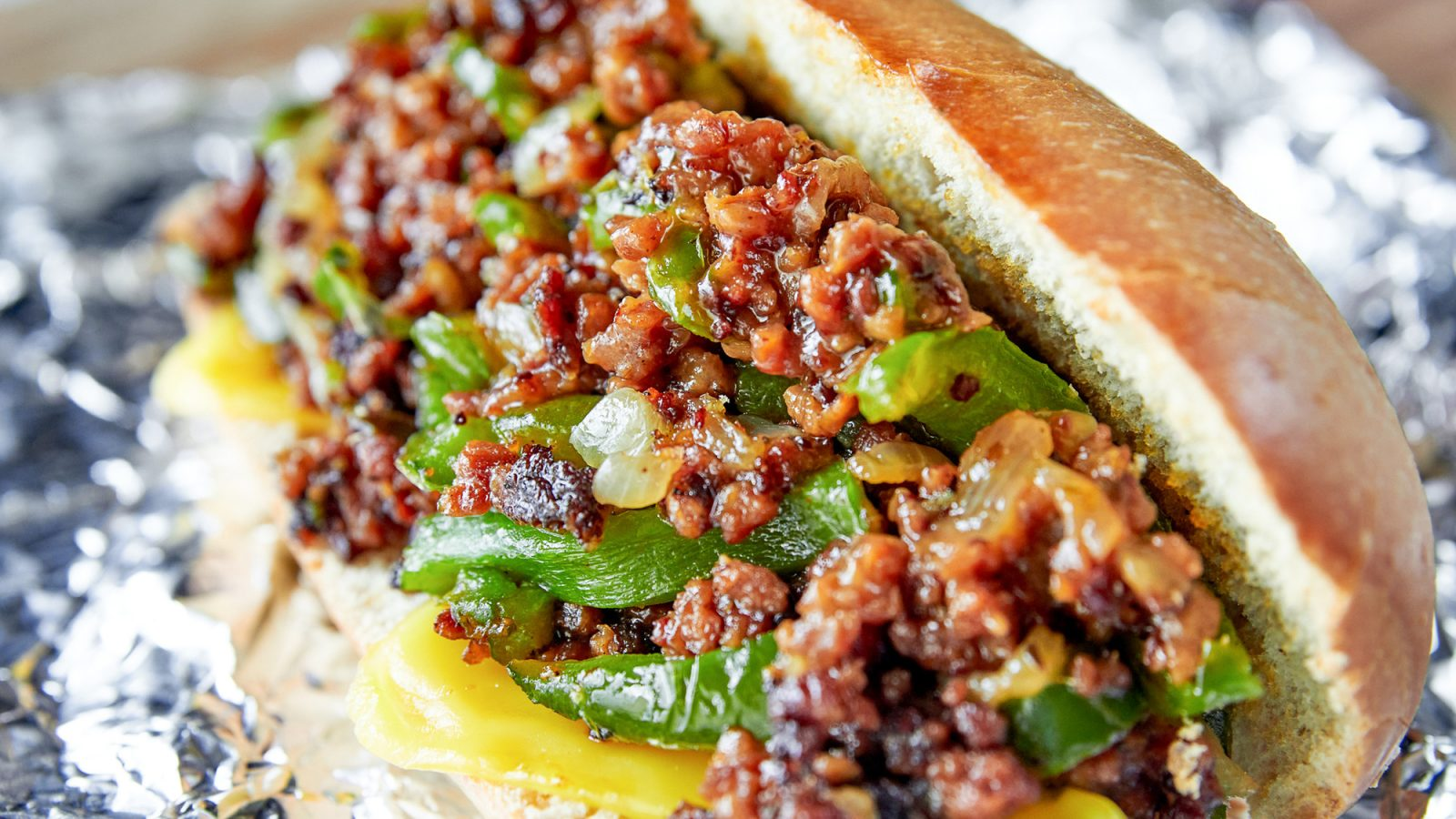 vegan philly cheesesteak with green peppers and onions