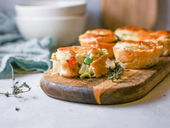 small vegan pot pie recipe on serving tray