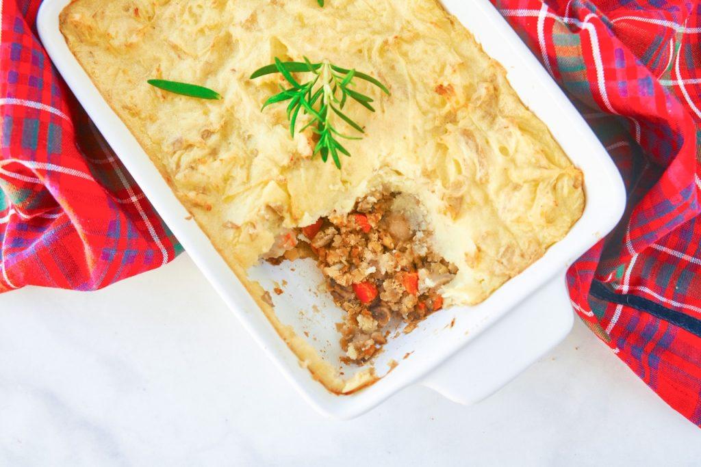 vegan shepherd's pie with lentils in casserole dish