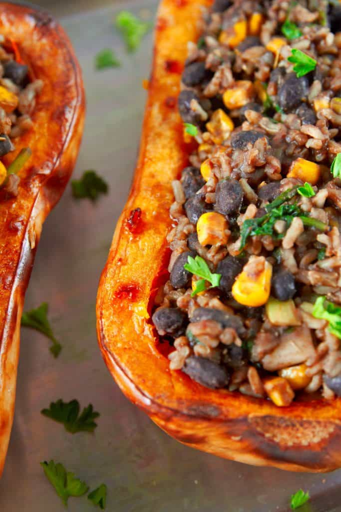close up of vegan stuffed butternut squash stuffing