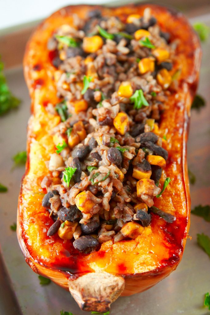 close up of vegan butternut squash with filling