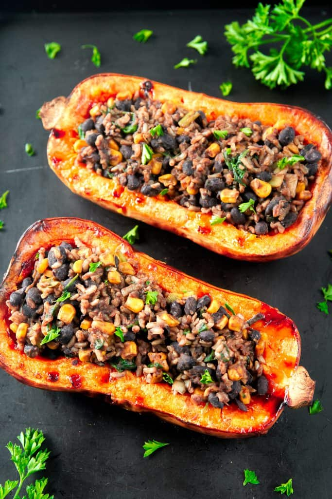 vegan stuffed butternut squash with parsley