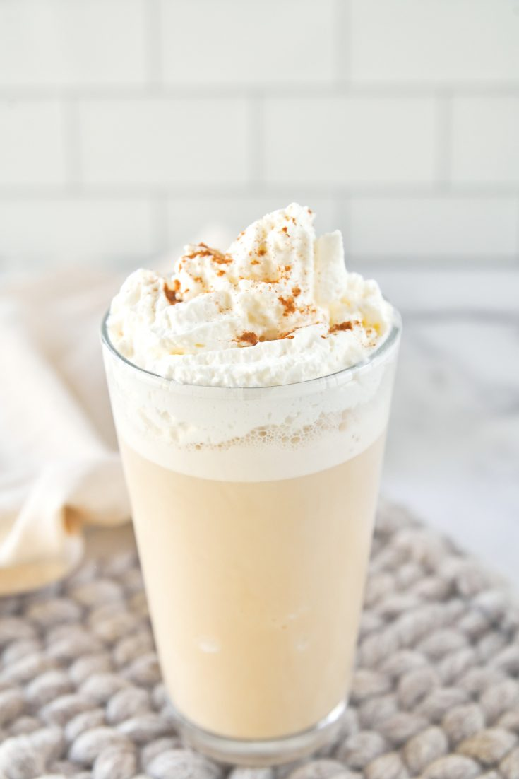 vegan chai frappuccino which is a starbucks copycat with whipped cream