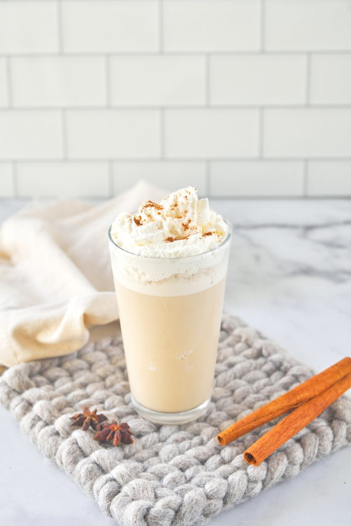 Starbucks Copycat chai cream frappuccino on knit coaster