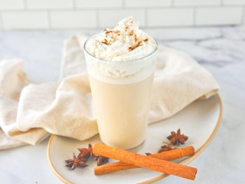 vegan chai frappuccino that is a Starbucks Copycat recipe on a plate with cinnamon