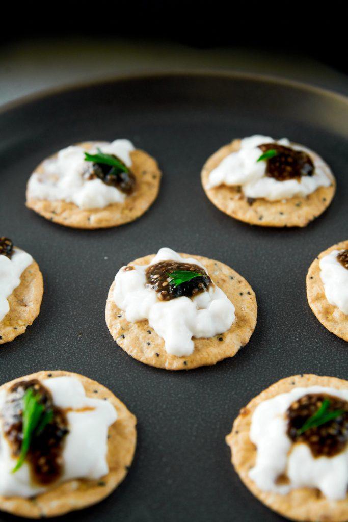 crackers with vegan caviar on it