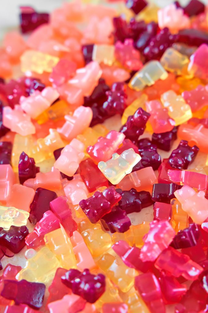 vegan gummy bears in a big bunch all mixed together