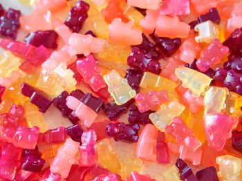 vegan gummy bears in different colors on a plate