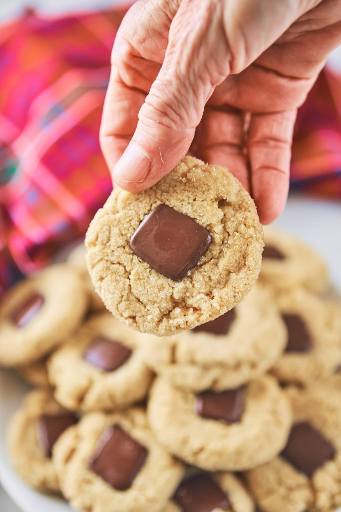hand holding a vegan peanut butter blossom cookie