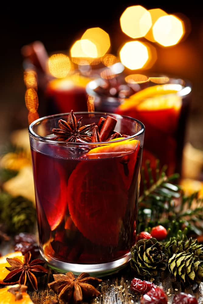 mulled wine in a glass with garnish for christmas