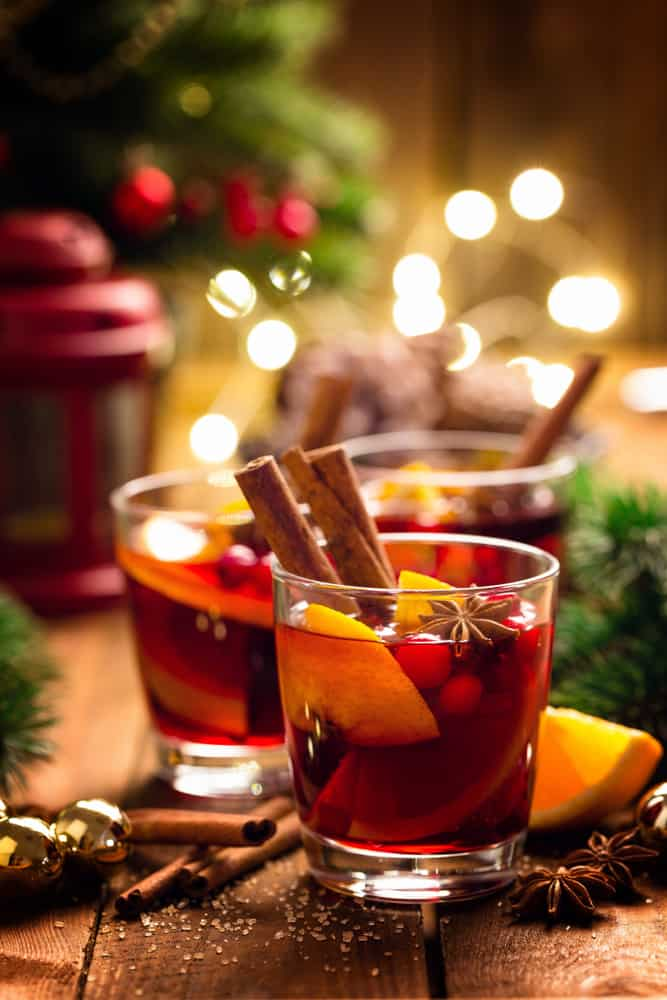Gluhwein mulled wine garnished with cinnamon