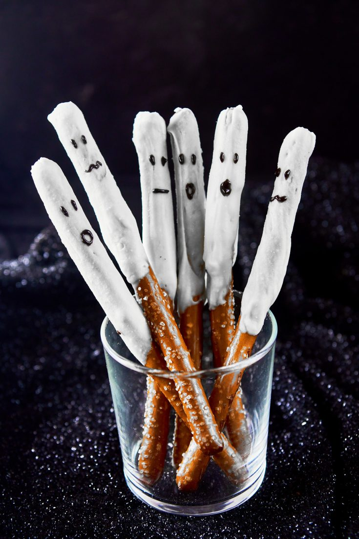 spooky ghost halloween pretzels in a glass container