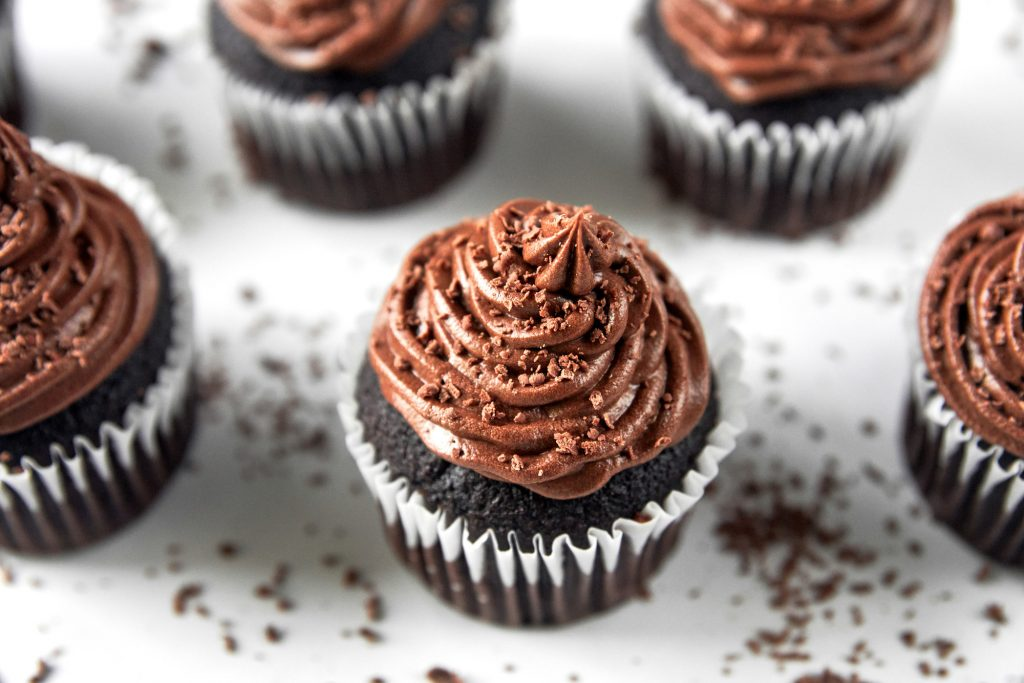 vegan chocolate cupcakes from above