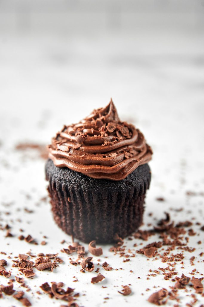 inside of non-dairy chocolate cupcakes