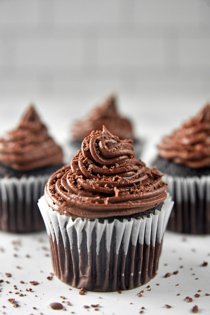 vegan chocolate cupcake with perfect icing