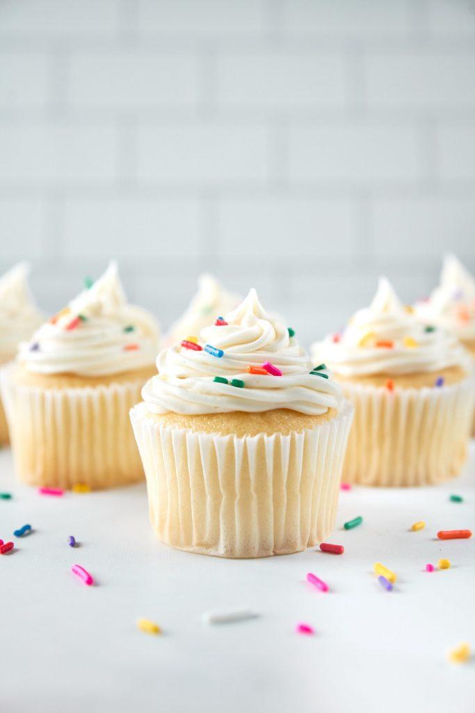 vegan vanilla cupcakes on counter