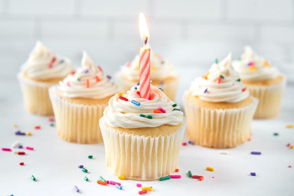 vegan vanilla cupcakes with funfetti on top