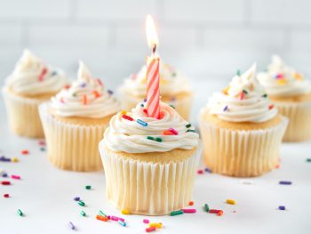 vegan vanilla cupcakes with a birthday candle