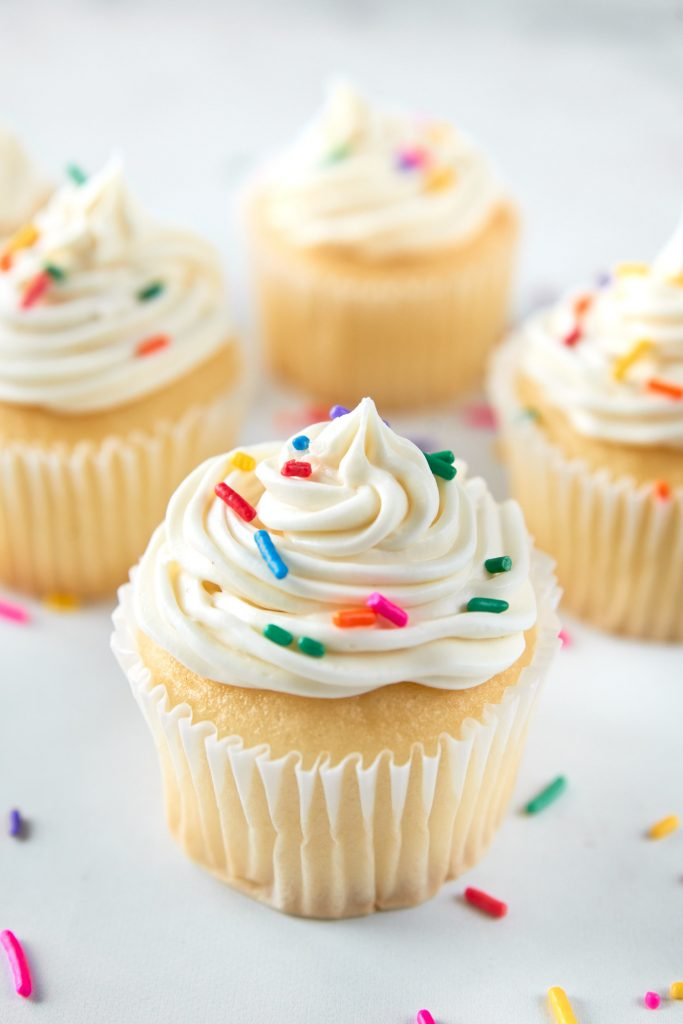 vegan vanilla cupcakes with funfetti topping