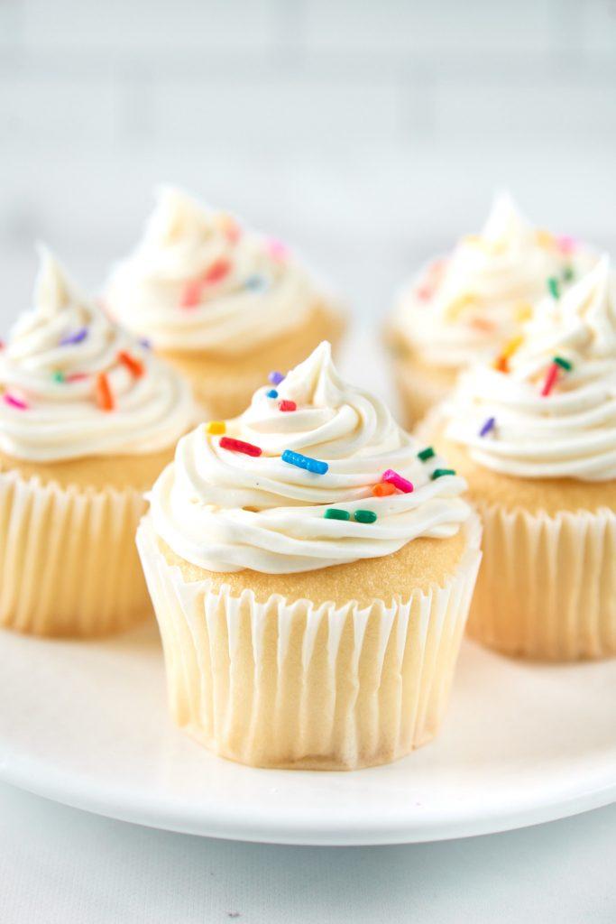 vegan vanilla cupcakes on a plate