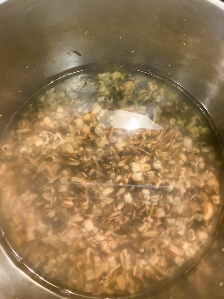 cooked wild rice in a pot