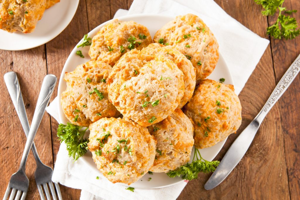 basket of vegan cheddar biscuits from above on a table