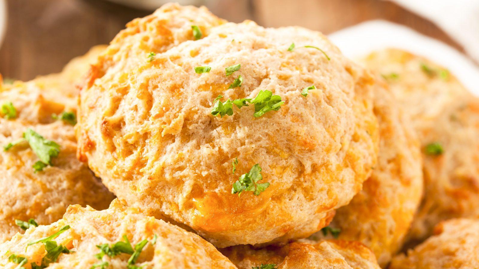 close up on vegan cheddar bay biscuits