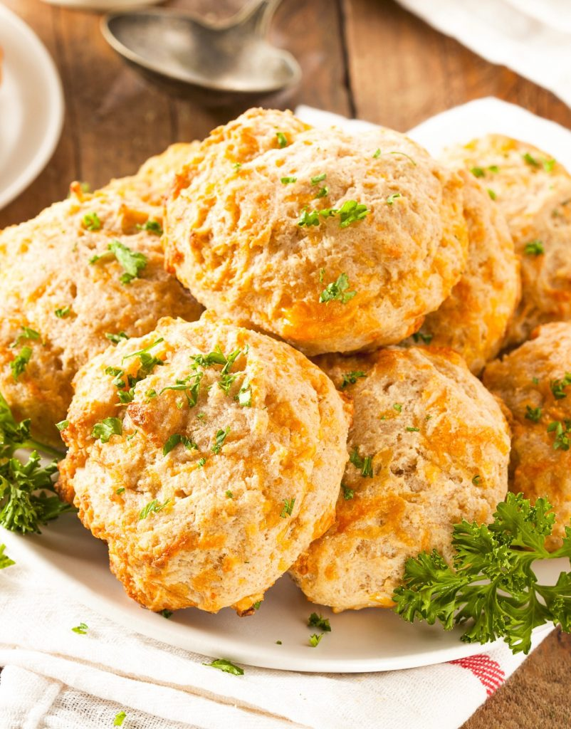 stack of Red Lobster Copycat vegan cheddar biscuits on a plate
