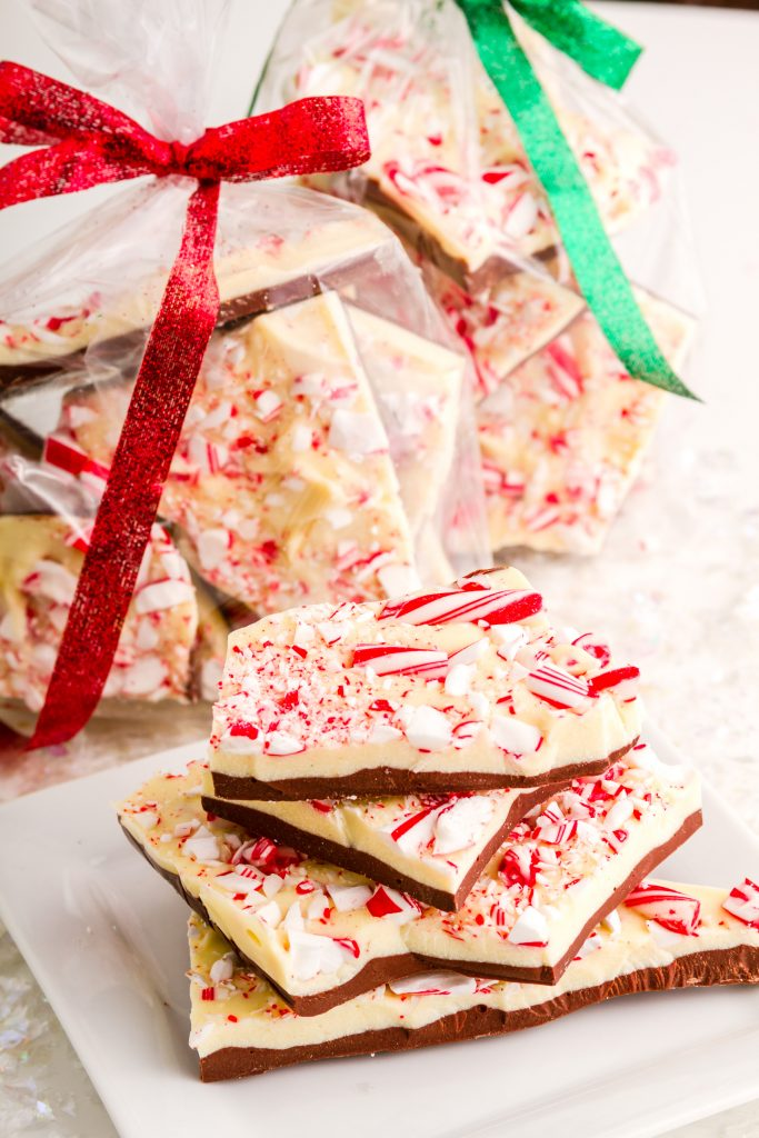 vegan peppermint bark in cellophane for gift giving