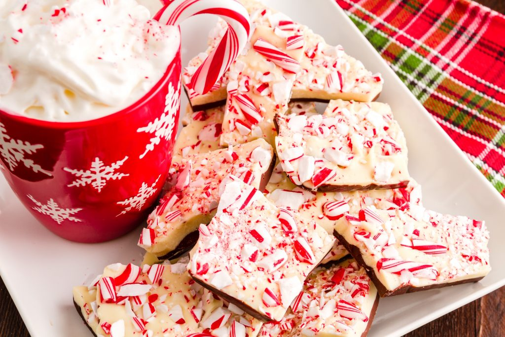 mug with vegan peppermint bark on a serving tray