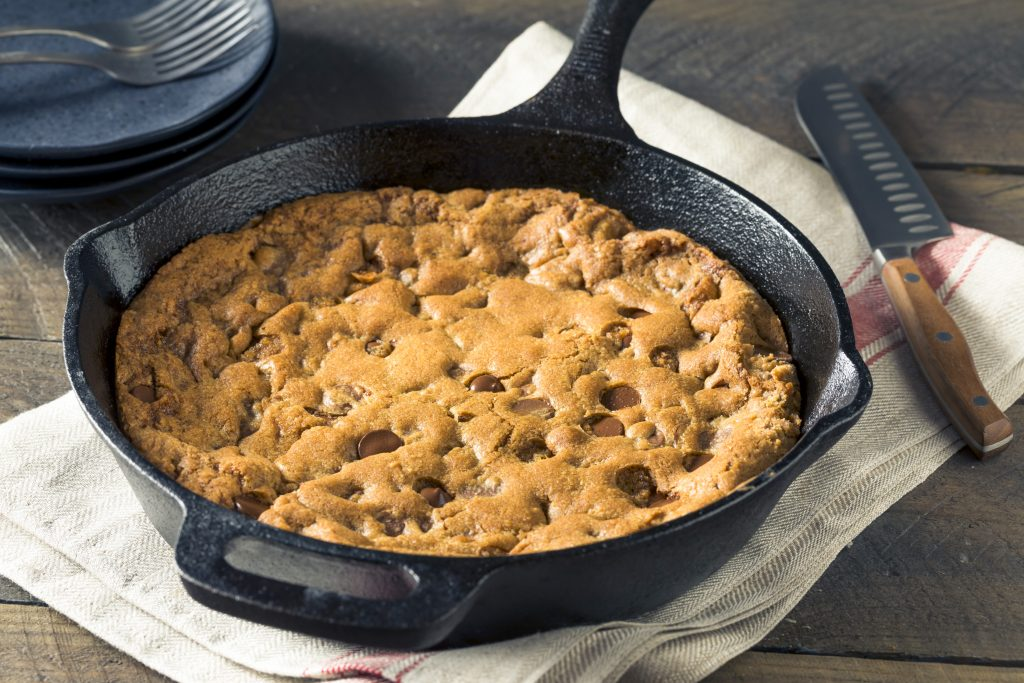 vegan skillet cookie not cut in a cast iron pan