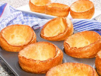 vegan yorkshire puddings in a baking tin