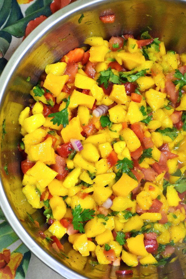 Photo of mango salsa, which is one of the most fun sides for Tacos!